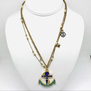 Betsey Johnson Blue Rhinestone Anchor Necklace NWT